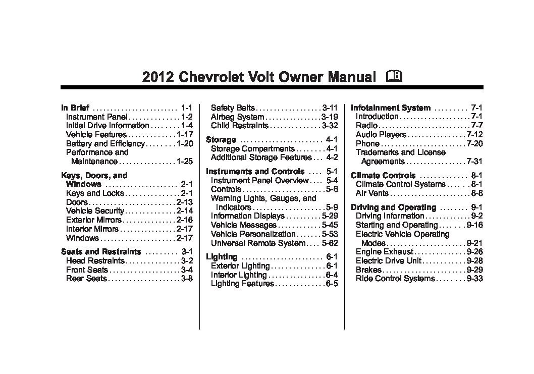 2012 chevrolet volt owners manual just give me the damn manual rh justgivemethedamnmanual com 2012 chevy volt service manual pdf 2014 chevrolet volt owners manual
