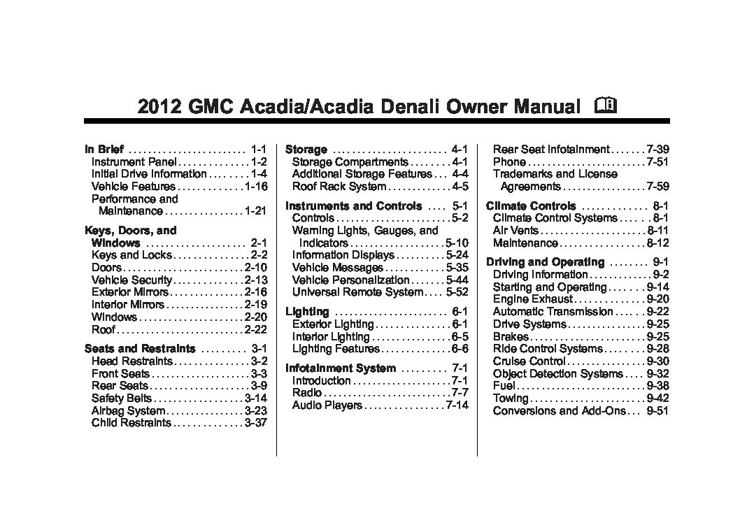 2012 Gmc Acadia Owners Manual Just Give Me The Damn Manual