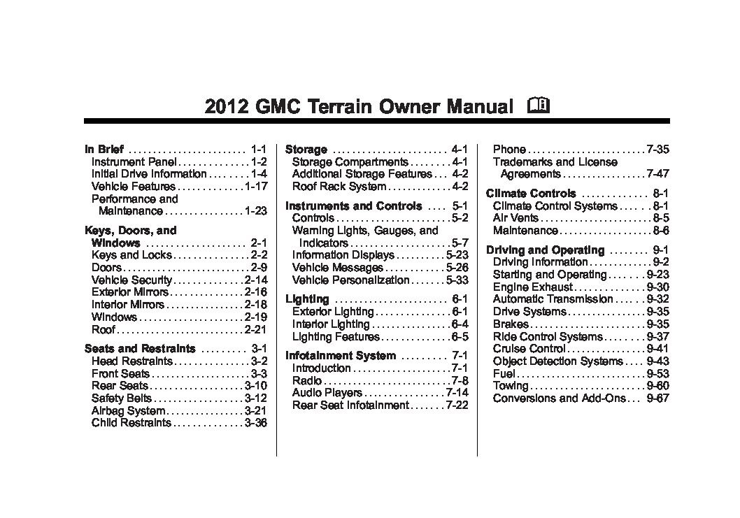 2012 gmc terrain owners manual just give me the damn manual rh justgivemethedamnmanual com gmc terrain owner's manual 2017 2014 terrain owners manual