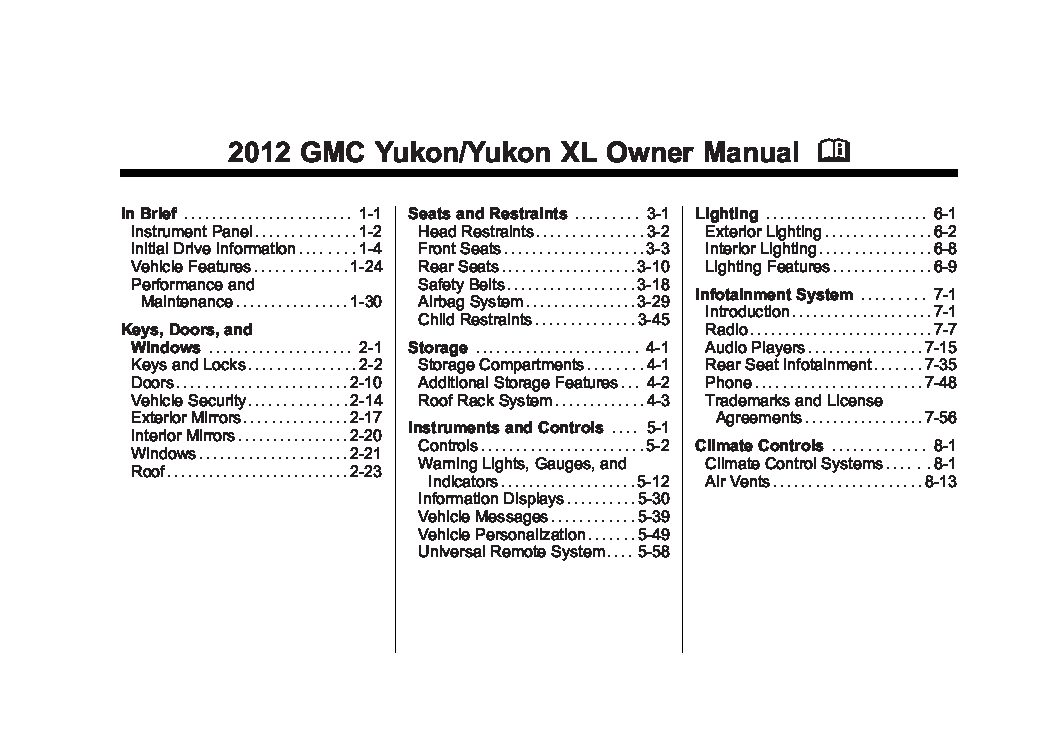 2012 gmc yukon owners manual just give me the damn manual rh justgivemethedamnmanual com 2007 gmc yukon xl service manual 2007 gmc yukon denali owners manual