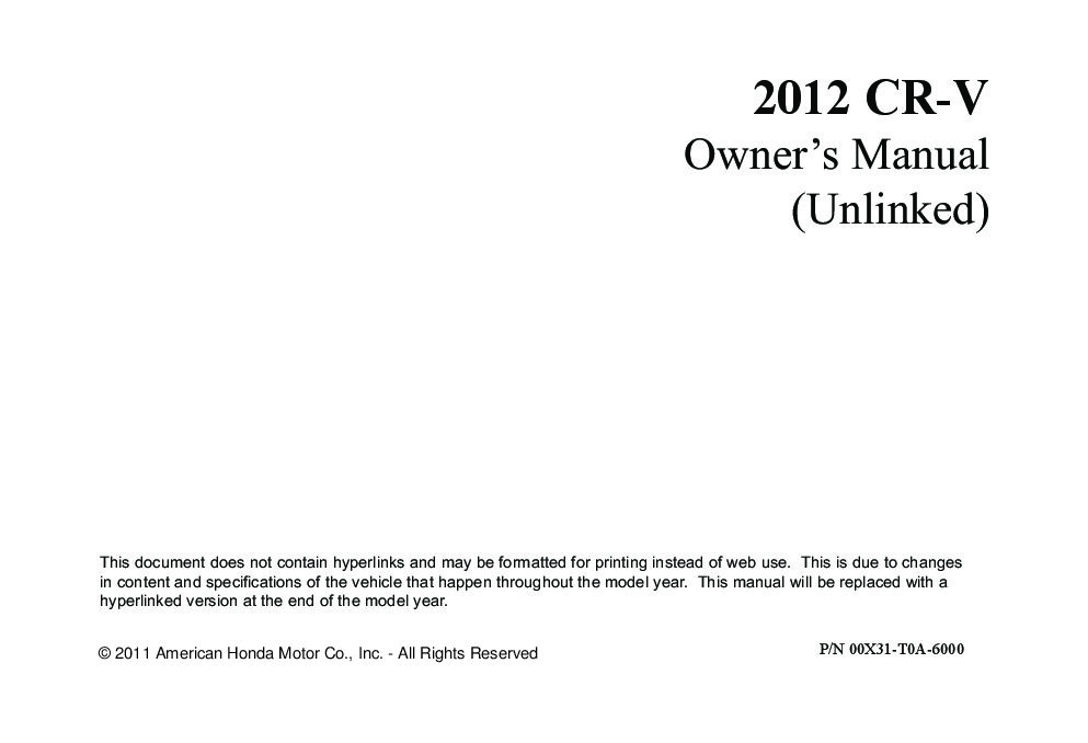 2012 honda cr v owners manual