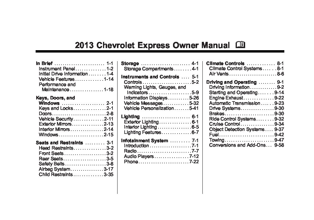 2013 Chevrolet Express Owners Manual Just Give Me The Damn