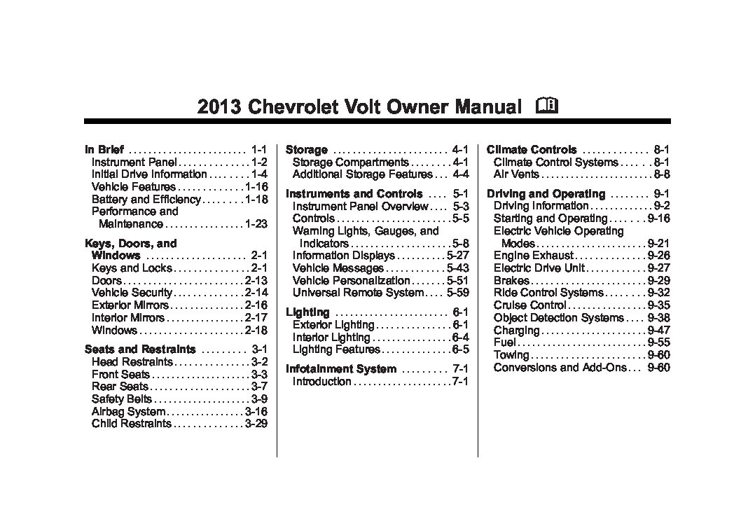 2013 chevrolet volt owners manual just give me the damn manual rh justgivemethedamnmanual com chevy volt service manual download 2012 chevy volt service manual pdf