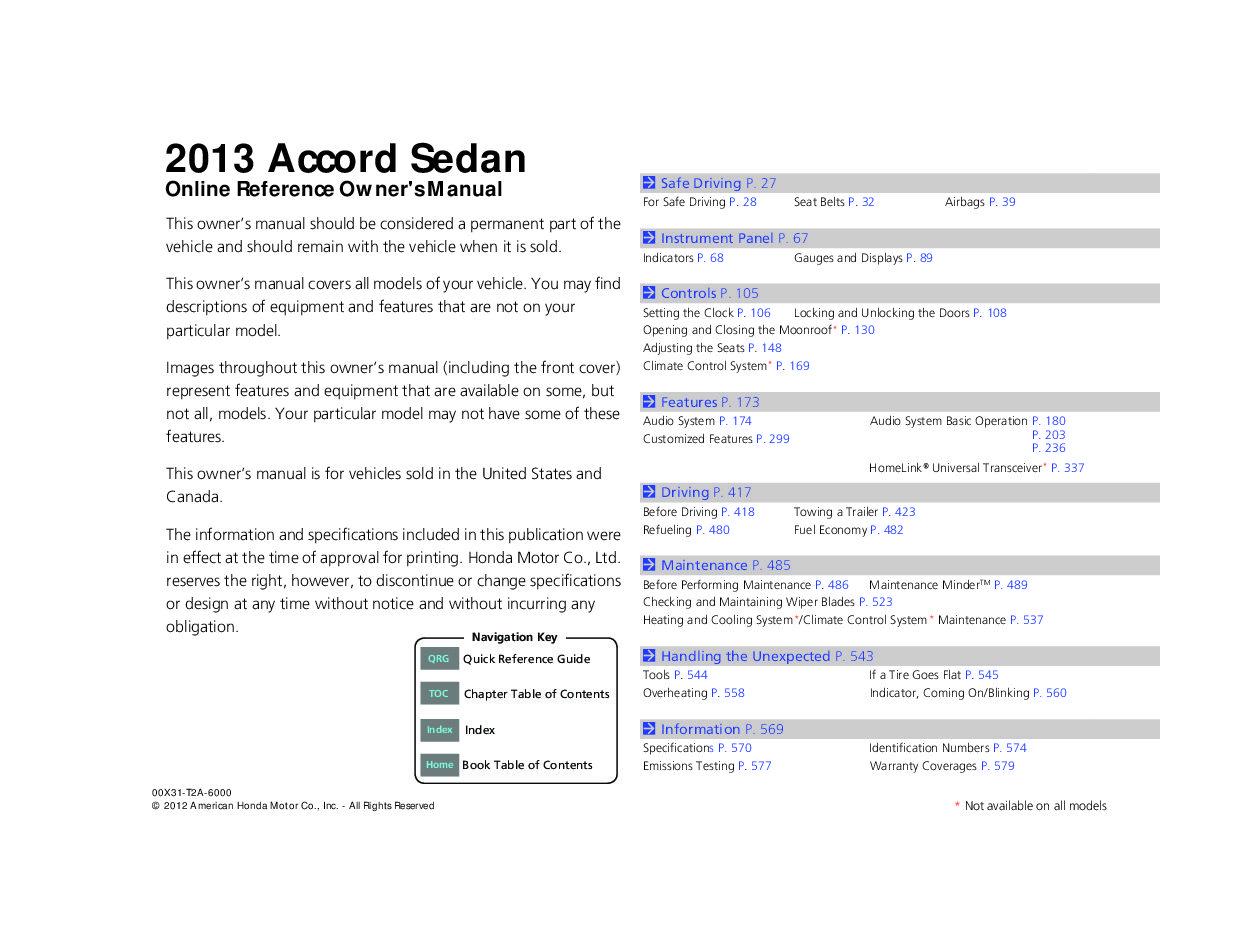 2013 honda accord factory service manual