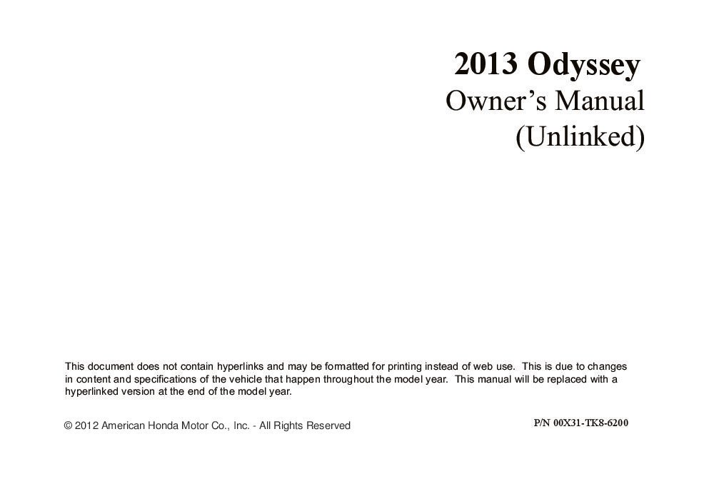 2013 Honda Odyssey Owners Manual Just Give Me The Damn Manual