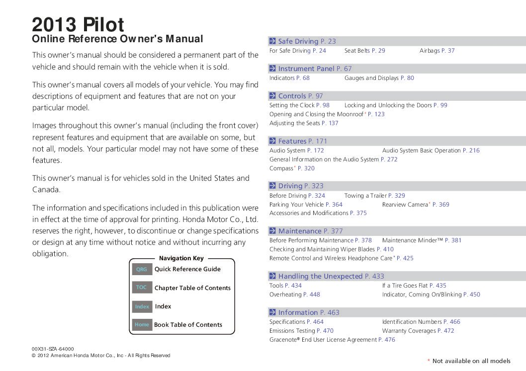honda pilot owners manual  give   damn manual