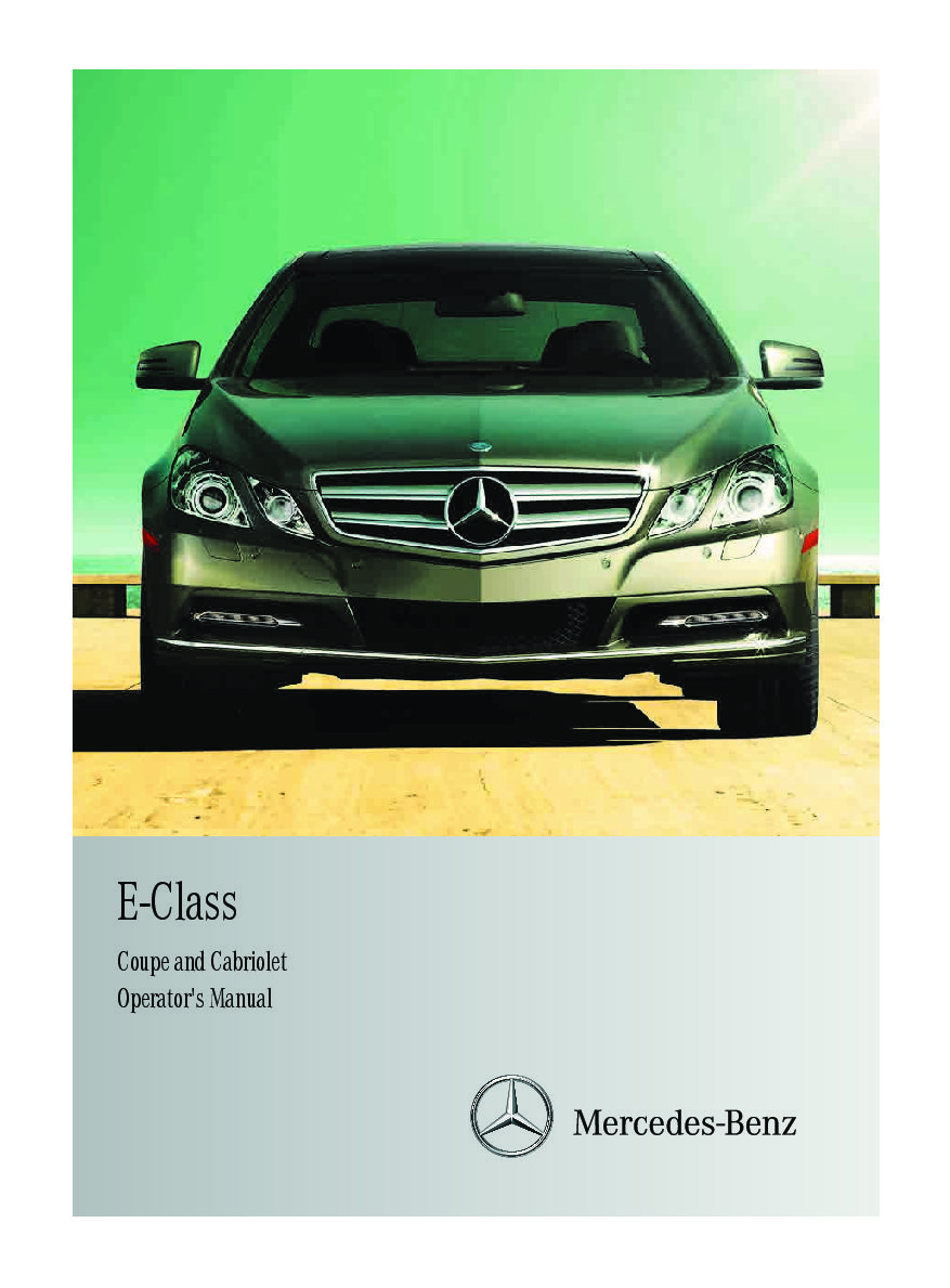 2013 mercedes-benz e-class coupe-and-cabriolet Owner's Manual