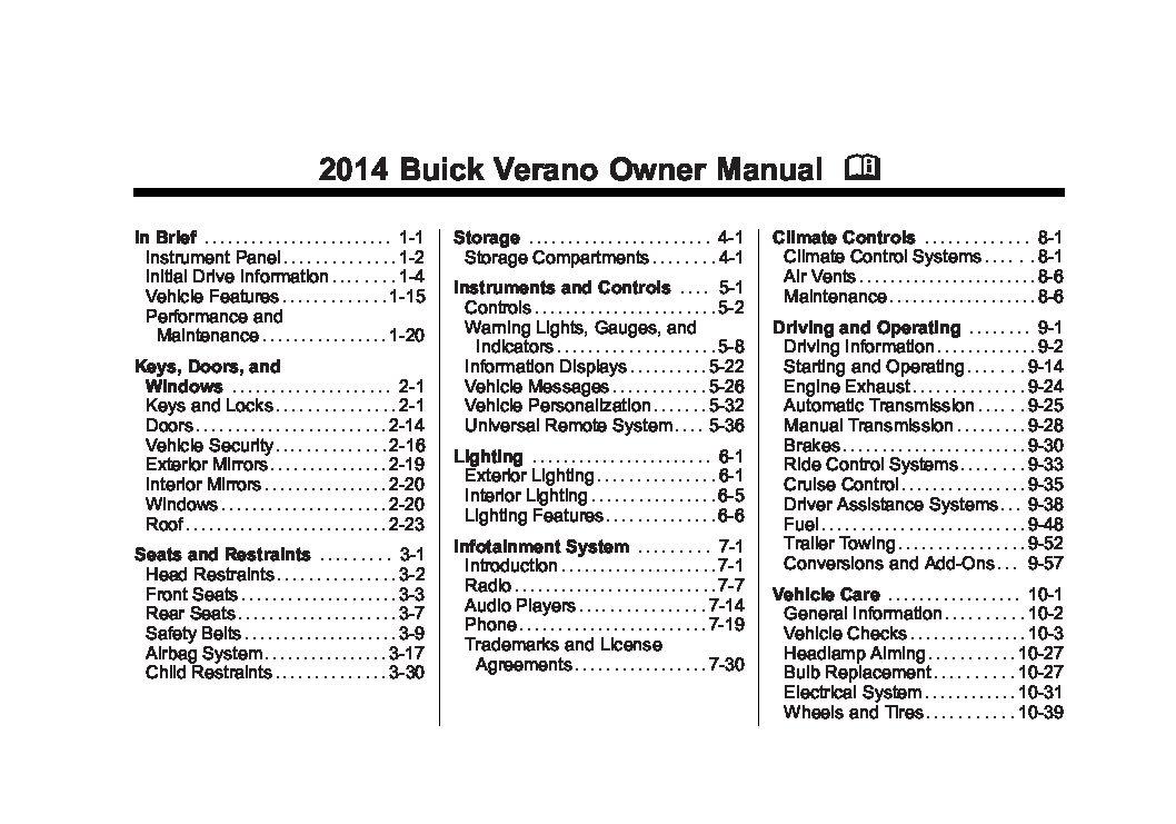 2014 buick verano owner's manual