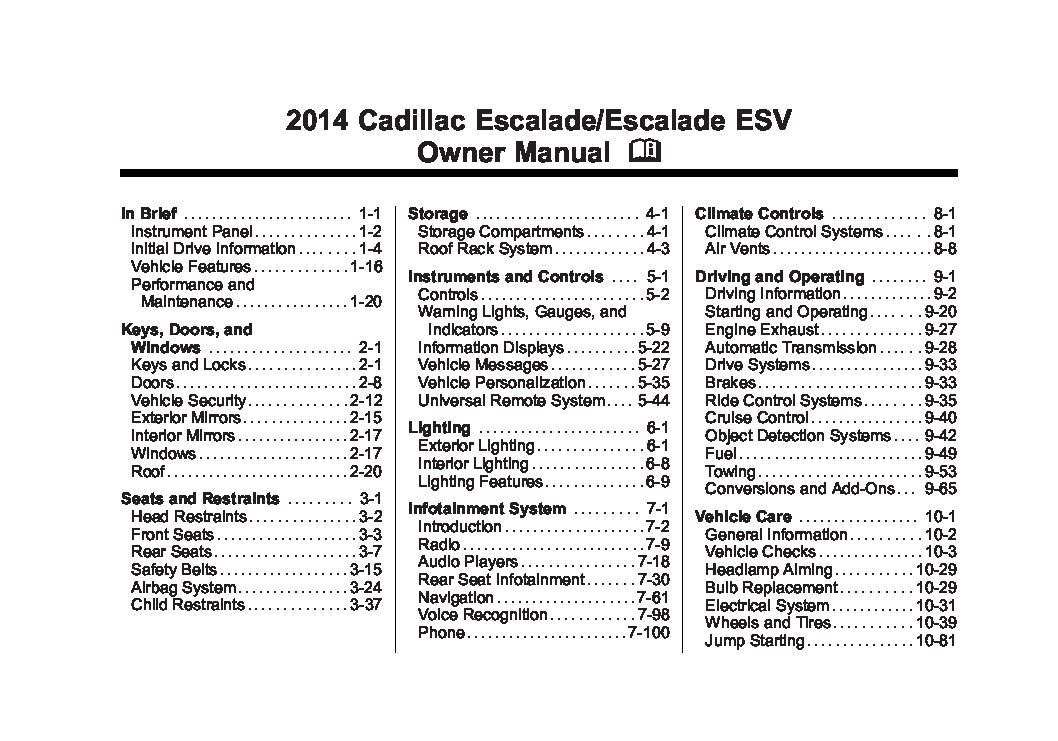 2014 cadillac escalade esv owners manual just give me the damn manual rh justgivemethedamnmanual com Custom Cadillac Escalade Cadillac Escalade Engine Diagram