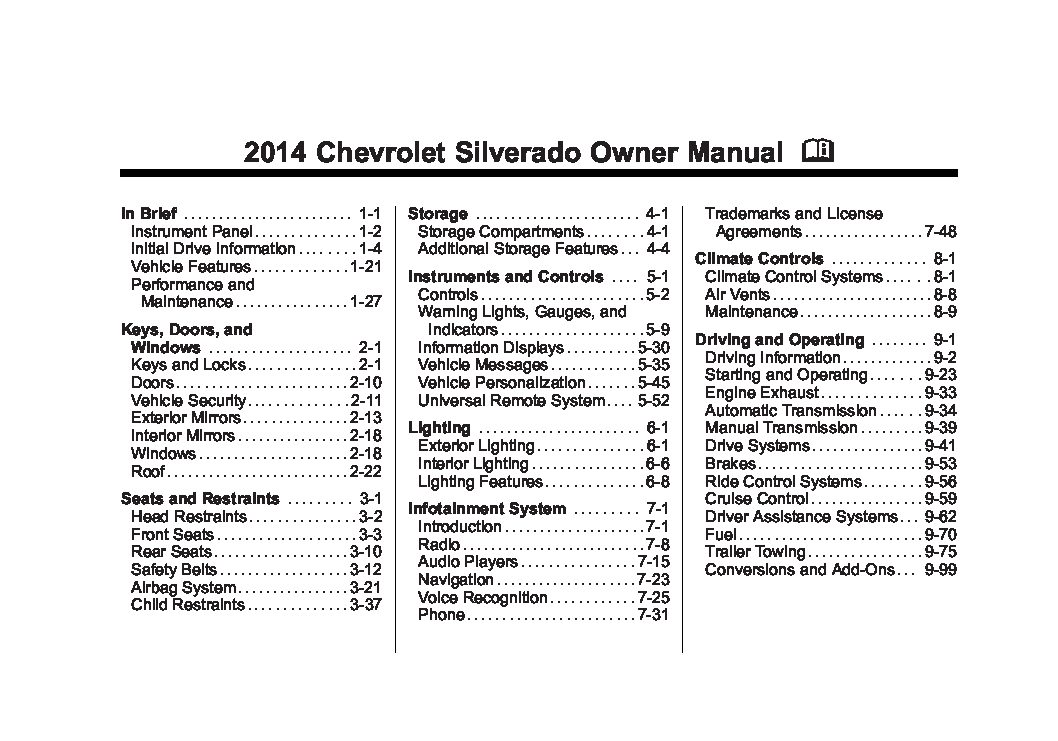 2014 chevrolet silverado Owners Manual | Just Give Me The ...
