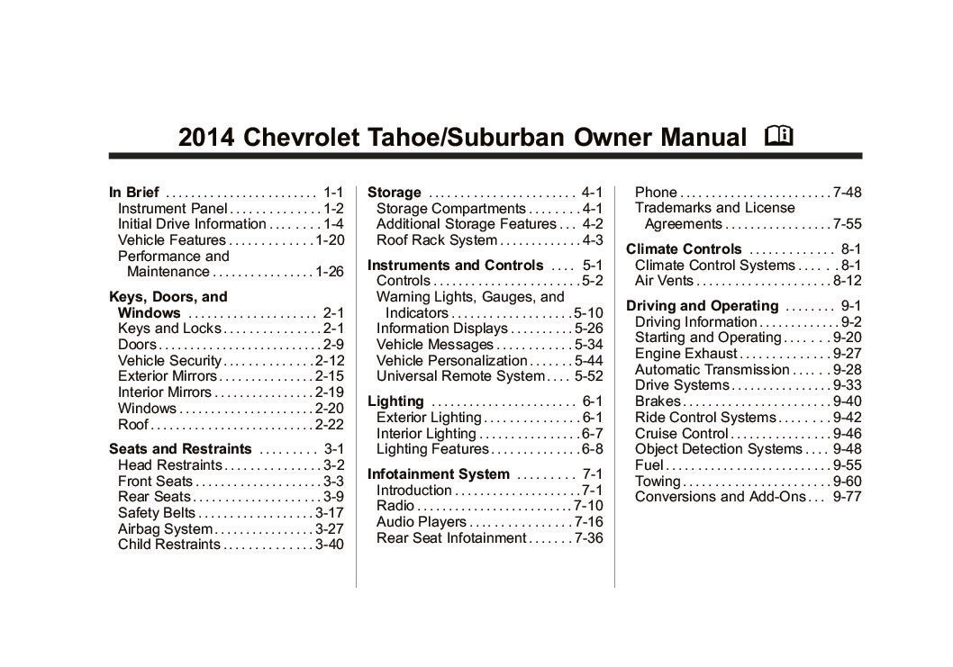 2014 Chevrolet Tahoe Suburban Owners Manual Just Give Me