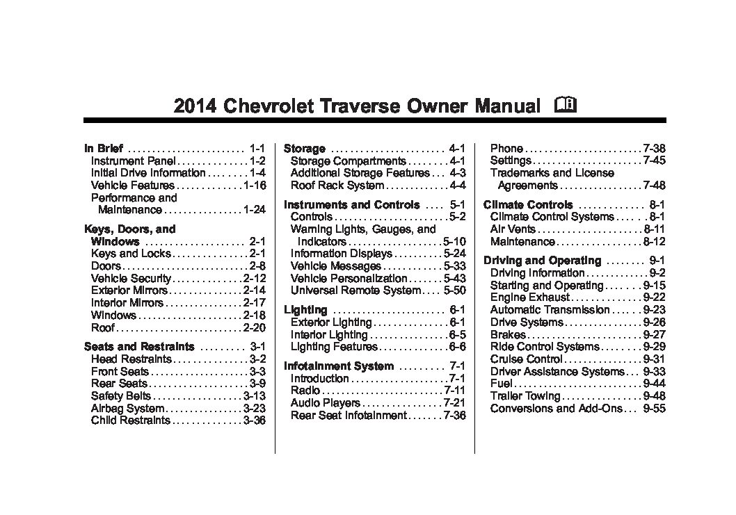 Chevrolet Traverse on 2001 Chevy Malibu Owners Manual