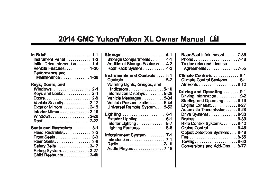 2014 gmc yukon yukonxl owners manual just give me the damn manual rh justgivemethedamnmanual com 2002 GMC Yukon XL CarGurus 2005 GMC Yukon XL Gold