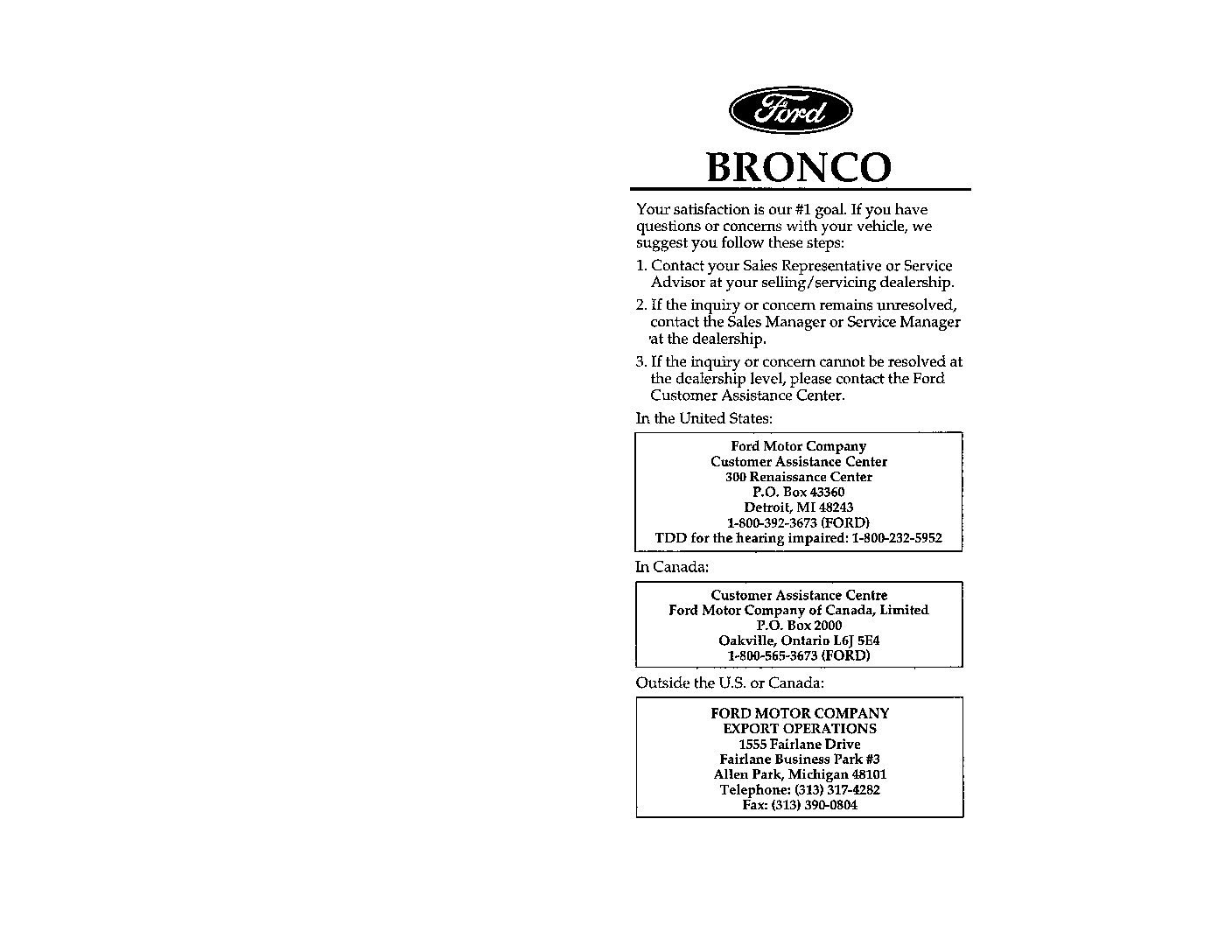 1988 Ford Bronco Owner's Manual Owner's Manual