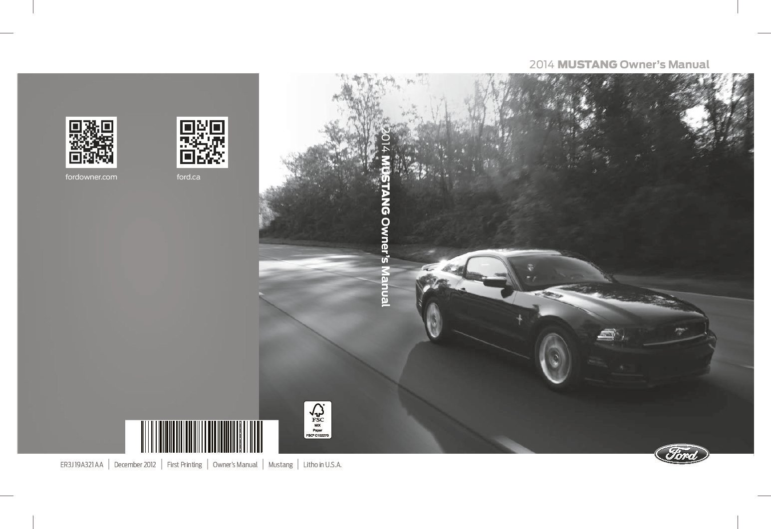 2014 Ford Mustang Convertible V-6 Owner's Manual
